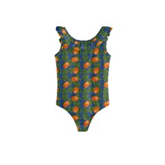 Mandarins Teal Blue Kids  Frill Swimsuit