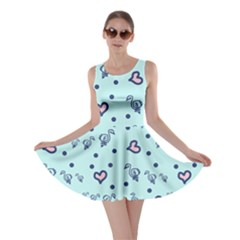 Duck Family Blue Pink Hearts Pattern Skater Dress