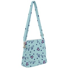 Duck Family Blue Pink Hearts Pattern Zipper Messenger Bag