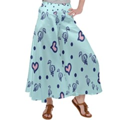 Duck Family Blue Pink Hearts Pattern Satin Palazzo Pants by snowwhitegirl
