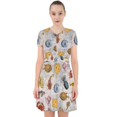 Sea World Vintage Pattern Adorable In Chiffon Dress