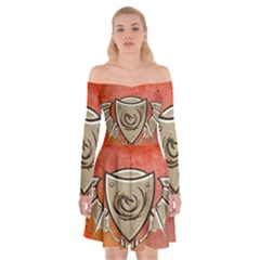 Wonderful Dragon On A Shield With Wings Off Shoulder Skater Dress by FantasyWorld7