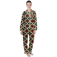 Under The Tiles Satin Long Sleeve Pyjamas Set