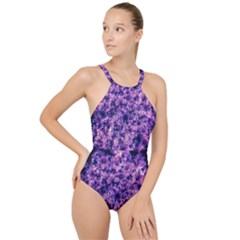 Queen Annes Lace In Purple And White High Neck One Piece Swimsuit