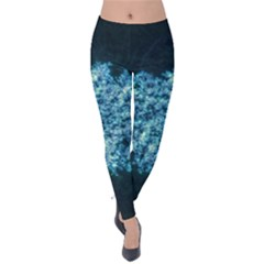 Queen Annes Lace In Neon Blue Velvet Leggings by okhismakingart
