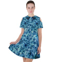 Queen Annes Lace In Neon Blue Short Sleeve Shoulder Cut Out Dress