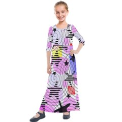 Stars And Spirals Kids  Quarter Sleeve Maxi Dress