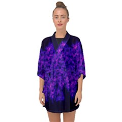 Queen Annes Lace In Blue And Purple Half Sleeve Chiffon Kimono by okhismakingart