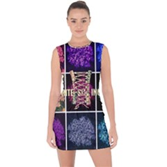 Floral Intensity Increases  Lace Up Front Bodycon Dress