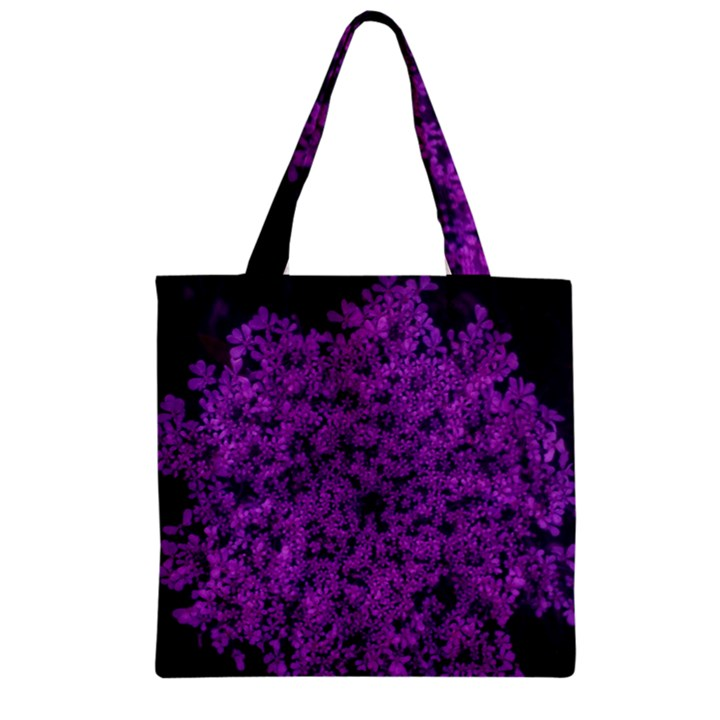 Queen Annes Lace in Purple Zipper Grocery Tote Bag