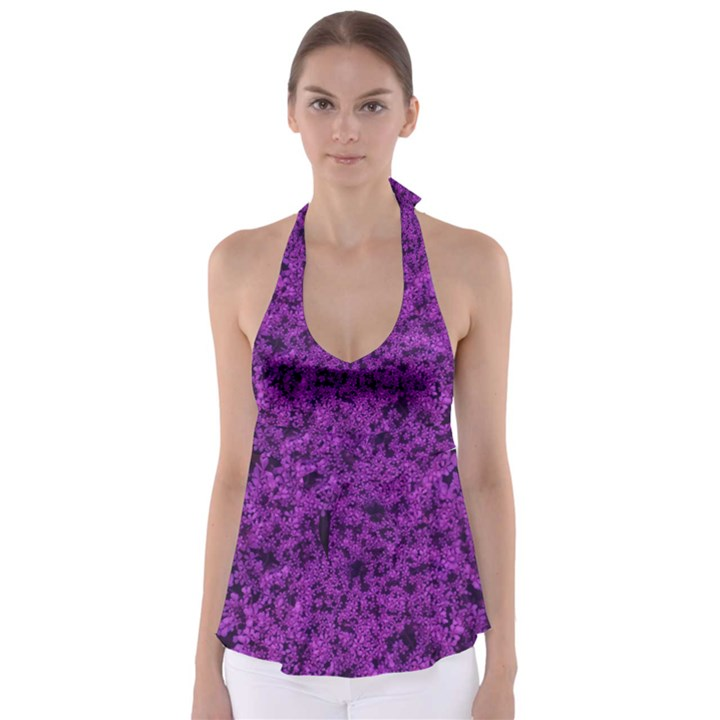 Queen Annes Lace in Purple Babydoll Tankini Top