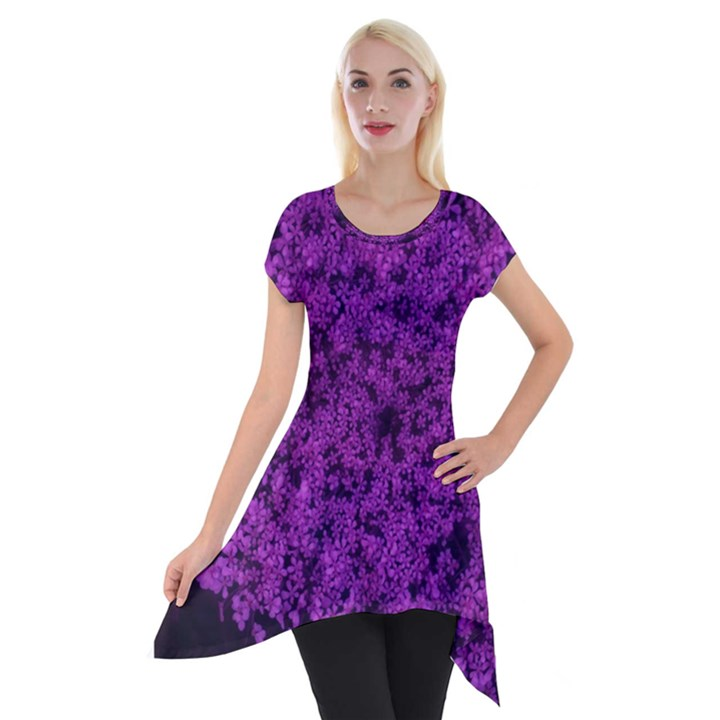 Queen Annes Lace in Purple Short Sleeve Side Drop Tunic