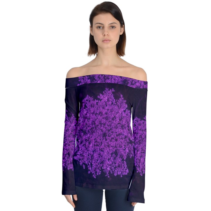 Queen Annes Lace in Purple Off Shoulder Long Sleeve Top