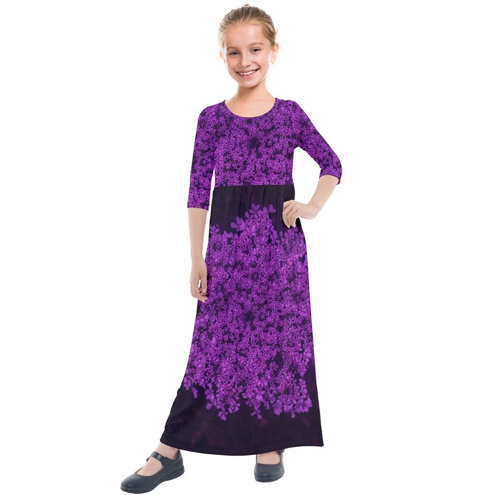 Queen Annes Lace in Purple Kids  Quarter Sleeve Maxi Dress