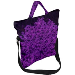 Queen Annes Lace In Purple Fold Over Handle Tote Bag
