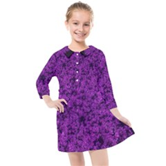 Queen Annes Lace In Purple Kids  Quarter Sleeve Shirt Dress