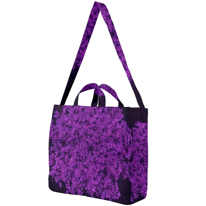 Queen Annes Lace in Purple Square Shoulder Tote Bag