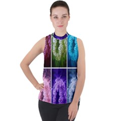 Closing Queen Annes Lace Collage (horizontal) Mock Neck Chiffon Sleeveless Top