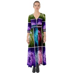 Closing Queen Annes Lace Collage (horizontal) Button Up Boho Maxi Dress