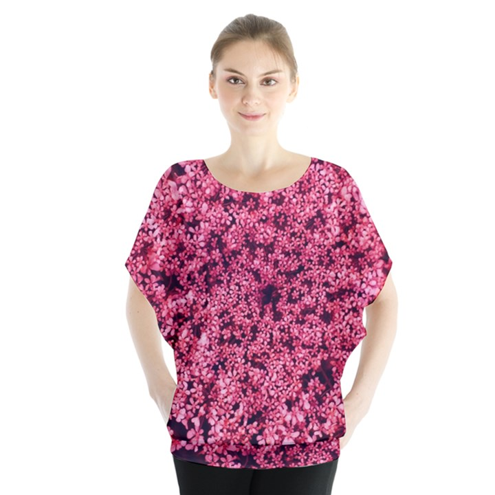 Queen Annes Lace in Red Part II Batwing Chiffon Blouse