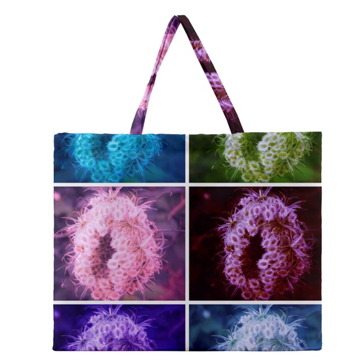 Closing Queen Annes Lace Collage (Vertical) Zipper Large Tote Bag