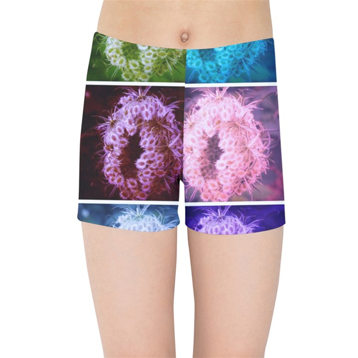 Closing Queen Annes Lace Collage (Vertical) Kids  Sports Shorts