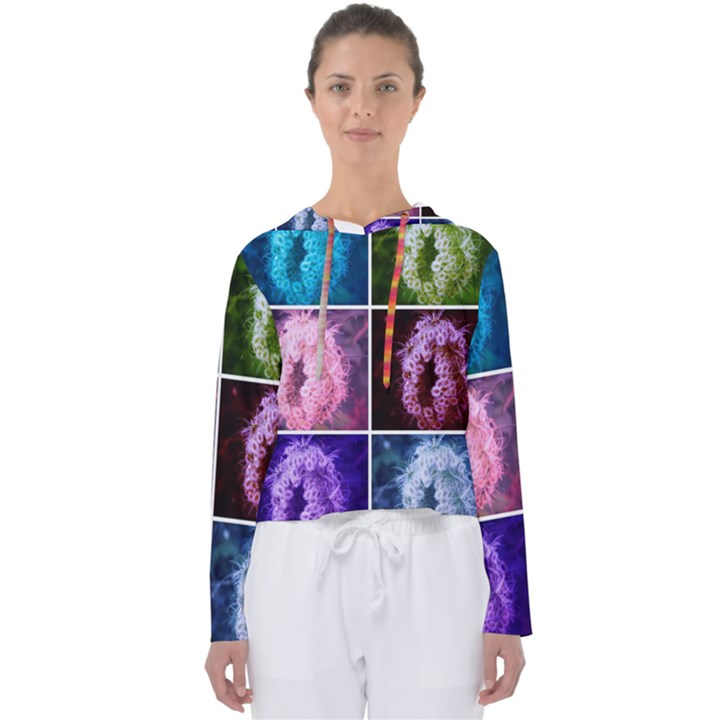 Closing Queen Annes Lace Collage (Vertical) Women s Slouchy Sweat