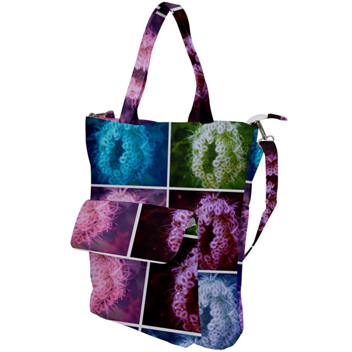 Closing Queen Annes Lace Collage (Vertical) Shoulder Tote Bag