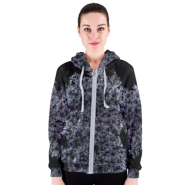 Queen Annes Lace in White Women s Zipper Hoodie
