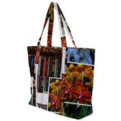 Floral Collage Zip Up Canvas Bag