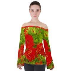 Red Roses Off Shoulder Long Sleeve Top by okhismakingart