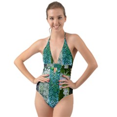 Queen Annes Lace Vertical Slice Collage Halter Cut-out One Piece Swimsuit by okhismakingart
