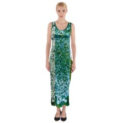 Queen Annes Lace Vertical Slice Collage Fitted Maxi Dress by okhismakingart