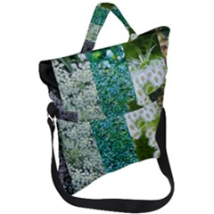 Queen Annes Lace Vertical Slice Collage Fold Over Handle Tote Bag