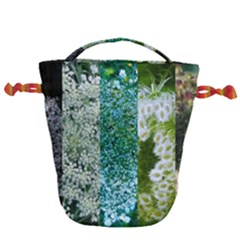 Queen Annes Lace Vertical Slice Collage Drawstring Bucket Bag by okhismakingart