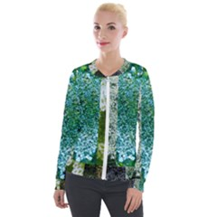 Queen Annes Lace Vertical Slice Collage Velour Zip Up Jacket