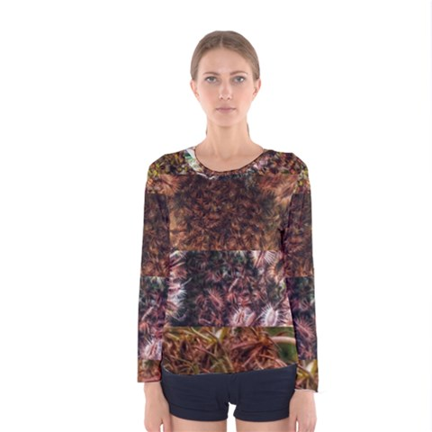 Queen Annes Lace Horizontal Slice Collage Women s Long Sleeve Tee by okhismakingart