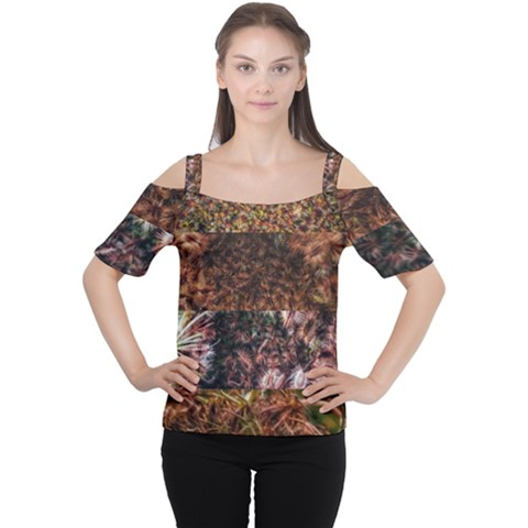 Queen Annes Lace Horizontal Slice Collage Cutout Shoulder Tee by okhismakingart
