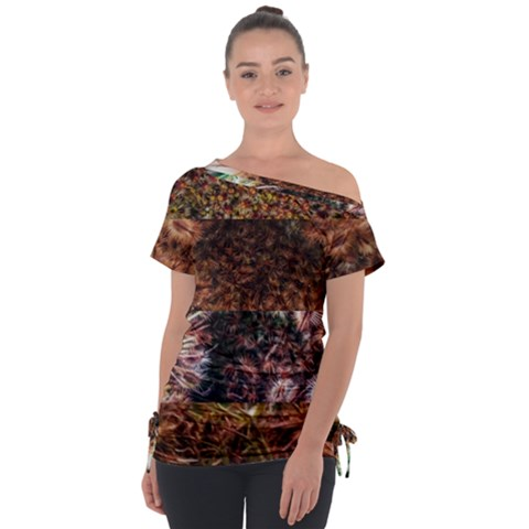 Queen Annes Lace Horizontal Slice Collage Tie-up Tee by okhismakingart