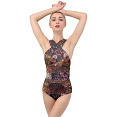 Queen Annes Lace Horizontal Slice Collage Cross Front Low Back Swimsuit by okhismakingart