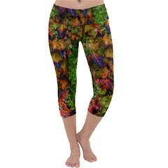 Fall Ivy Capri Yoga Leggings by okhismakingart
