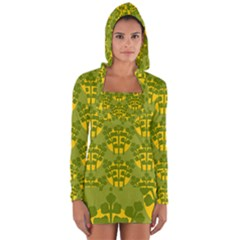 Texture Plant Herbs Green Long Sleeve Hooded T-shirt