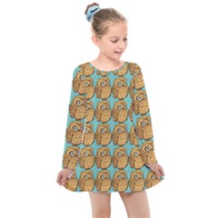 Owl Wallpaper Bird Kids  Long Sleeve Dress by Alisyart