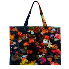 Leaves And Puddle Zipper Large Tote Bag
