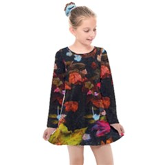 Leaves And Puddle Kids  Long Sleeve Dress by okhismakingart