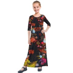 Leaves And Puddle Kids  Quarter Sleeve Maxi Dress by okhismakingart