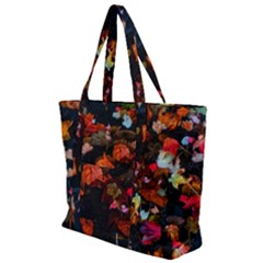 Leaves And Puddle Zip Up Canvas Bag by okhismakingart