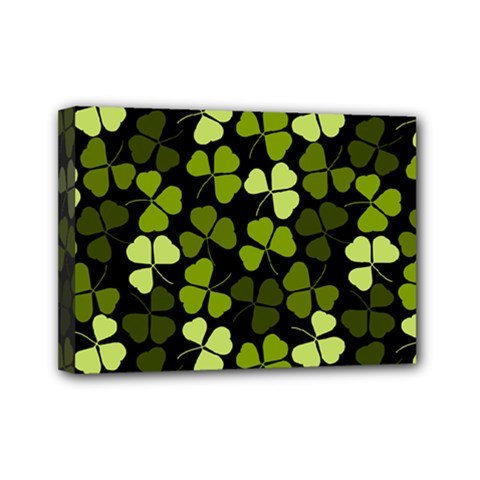 Green Leaves Meadow Shamrock Pattern Mini Canvas 7  X 5  (stretched)