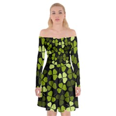 Green Leaves Meadow Shamrock Pattern Off Shoulder Skater Dress