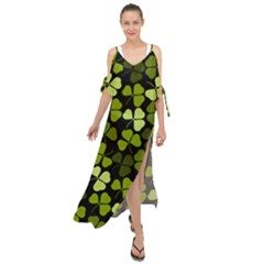 Green Leaves Meadow Shamrock Pattern Maxi Chiffon Cover Up Dress